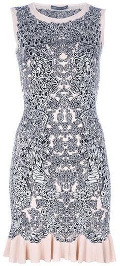 Alexander Mcqueen Jacquard Ruffle Dress in Gray (pink)
