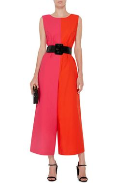 Shop Two Toned Flared Jumpsuit. This **Isa Arfen** jumpsuit features bold color blocking and a relaxed, wide-legged silhouette cinched with a black waist tie. Leather Buckle, Black Patent Leather, Isa Arfen, Pink Jumpsuit, Just Style, Spring Summer Fashion, Dresses For Work, How To Wear, Cotton