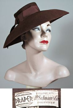 1930s - 1940s Chocolate Brown Wide Brimmed Portrait Hat  by Draper