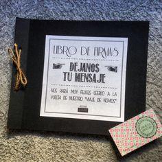 Libro de firmas personalizado, 100% handmade, con tarjetas independientes para que los invitados dejes sus mensajes | pedidos: info@angelessilvestre.com