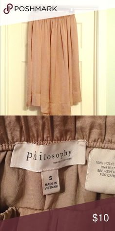 Philosophy midi skirt Beautiful taupe flowy skirt. Philosophy brand size small. Philosophy Skirts Midi