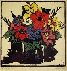 Hibiscus by Margaret Rose (MacPherson) Preston (1875-1963) Australia,1925 Woodblock, ed: 20/25, 24.5 x 25 cm