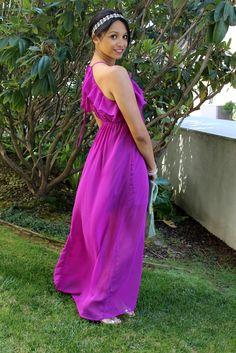 Britt + Whit: Grecian :: Jennifer Behr Headband :: grecian :: maxi dress :: purple :: silver :: boho ::