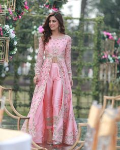 Luxurious Pink Cigarette Pant Suit With Resham WorkYou can find Designer dresses indian and more on our website.Luxurious Pink Cigarette Pant Suit With Resham Work Indian Fashion Dresses, Indian Gowns Dresses, Dress Indian Style, Indian Designer Outfits, Pakistani Dresses, Indian Fashion Trends, Bridal Dresses, Bridal Anarkali Suits, Silk Anarkali Suits