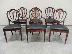 Mahogany Hepplewhite Style Heart-Shaped Back Dining Chairs Antique Dining Chairs, Heart Shapes, Rustic, Lighting, Antiques, Furniture, Design, Home Decor, Style