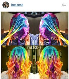 48 Best Funky Colored Hair That Look so Carefree « styles de cheveux 2019 Funky Hairstyles, Pretty Hairstyles, Blonde Hairstyles, Braid Hairstyles, Pelo Multicolor, Galaxy Hair, Hair Color Techniques, Fantasy Hair, Fantasy Makeup
