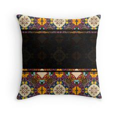 """""""Seamless ornament """"Ethnic"""""""" Throw Pillows by floraaplus   Redbubble"""