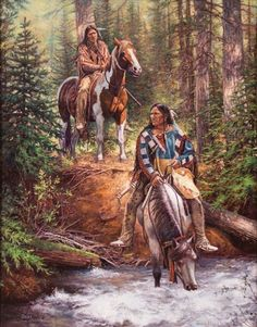 Don Oelze - Forest Drink, oil on canvas kp Native American Horses, Native American Warrior, Native American Paintings, Native American Wisdom, Native American Pictures, Native American Beauty, American Indian Art, Native American History, American Indians