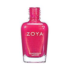 Zoya Nail Polish in Kimber - Rich, bright and saturated medium magenta pink with strong gold metallic shimmer and a foil-like finish
