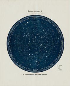 1920s STAR MAP Antique ASTRONOMY print. by TwoCatsAntiquePrints