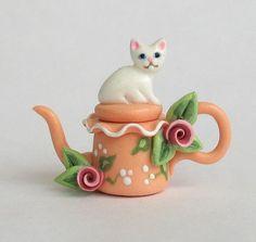 Miniature Kitten Cat Teapot OOAK by C. Rohal by ArtisticSpirit