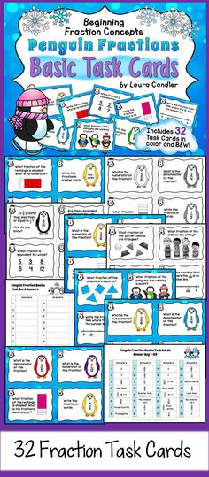 Fraction Task Cards - 32 task cards with an adorable penguin them that cover basic 3rd grade fraction concepts including fractions on a number line. Great review for 4th and 5th grade, too! $ #LauraCandler