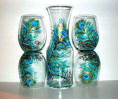 Handpainted Peacock Feathers Stemless Wine Glasses and Carafe,Decanter--5 Piece Collection on Etsy, $125.00