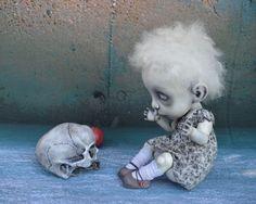 Little Girl with a Skull. BJD Art Doll. Rosie.