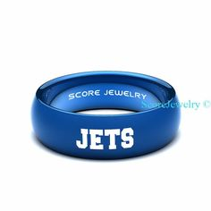 Blue Tungsten Band Ring Mens Womens Ring NFL Football New York Jets Ring Birthday Anniversary Gift