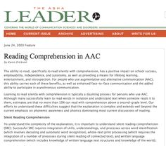 Reading Comprehension in AAC by Karen Erickson