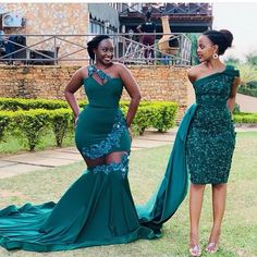 Two Styles Dark Green African Plus Size Mermaid Prom Dresses Lace Appliques One Shoulder Floor Length Formal Dress Evening Gowns African Lace Styles, Short African Dresses, Latest African Fashion Dresses, African Bridesmaid Dresses, Ankara Styles, African Wedding Attire, African Attire, South African Traditional Dresses, Mermaid Prom Dresses Lace