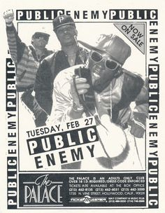Burn Hollywood Burn!  A photocopied mini-flyer for a Public Enemy show at The Palace in Hollywood, California, circa 1990.