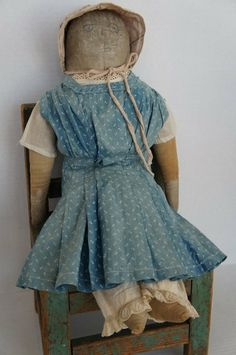 Big antique pencil face doll with blue calico dress~♥~My Emma, My Birthday doll, 4/3/14. I adore her. Thanks Pat !