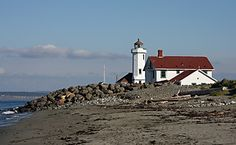 This is the Lighthouse at Fort Worden, this photo is taken from the beach but it's actually closer and easier to get to, if you plan on visiting it, from the parking lot. However, if you want a great photo this is the spot, you can look for sea glass while you are on the beach.