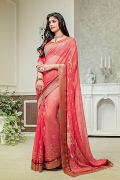 Description: What can one say about it? These are regarded as the world's longest running women ethnic wear. Crafted from Brasso fabric this saree has Orange color blouse with it and it features Foil #designersarees #sareesonline #sarees #sari