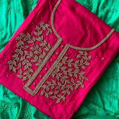 Buy Gorgeous Magenta-Rama Green Colored Designer Chanderi Cotton Dress Material at Get latest Partywear suit for women's at Peachmode. Chudi Neck Designs, Salwar Neck Designs, Churidar Designs, Dress Neck Designs, Fancy Blouse Designs, Designs For Dresses, Sleeve Designs, Embroidery On Kurtis, Hand Embroidery Dress