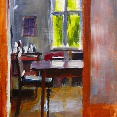 I like these paintings of interiors by London based artist Liza Hirst. Hirst is an extremely prolific artist - painting figures, still-lifes, urban landscapes, animals and more. See her extensive portfolio on Daily Painters.