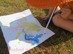 giving straw painting a go at Flushed with Rosy Colour