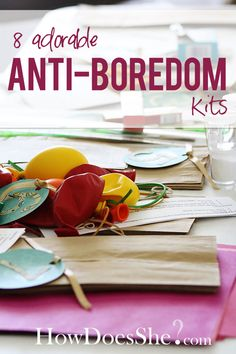 8 Super Fun Anti-boredom kits for you and the kids! Each includes the items and instructions and craft or activity they produce! Definitely one to pin and come back to later! Kits @ HowDoesShe.com