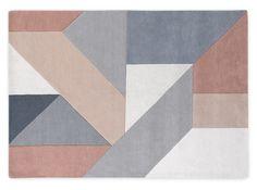 Holden, grand tapis à motifs géométrique en laine tuftée à la main 160 x 230 cm, rose blush