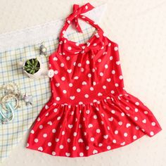 Little Lady Polka Dotted Skirted One-piece in Red for Toddlers and Girls