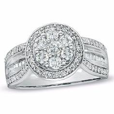 1 1 2 Ct T W Diamond Cluster Split Shank Engagement Ring