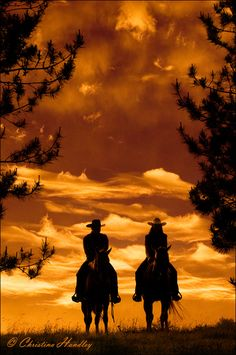 indypendentnature:Sunset Silhouette  Word of advice from a cowboy: Don't squat with your spurs on!