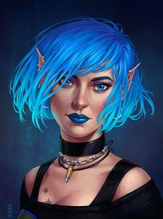 Commission: Willow portrait by dimary on DeviantArt Fantasy Rpg, Fantasy Girl, Fantasy Artwork, Fantasy Images, Character Portraits, Character Art, Character Ideas, Elf Art, Female Elf
