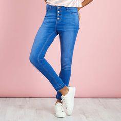 12Jean skinny taille haute                                         denim black Femme