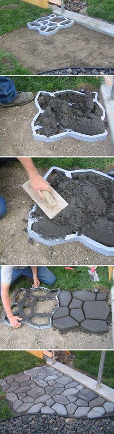 Fliesen im Garten selber machen * Vorlage * Ideen für Bodengestaltung *