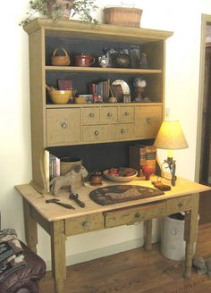 This is a gorgeous cabinet.  Love it.  Great way to use two old pieces of furniture to make one great piece.