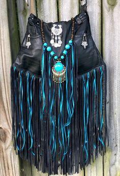 Handmade Black Leather Gypsy Fringe Bag Hippie Boho Hobo OOAK Ibiza Purse B.Joy | eBay