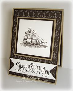 An elegant masculine card using The Open Sea, Perfectly Penned, & Nautical Expedition dsp (retired). Thanks Mel!