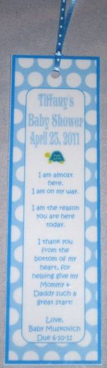 Party Favor Bookmark for Shower
