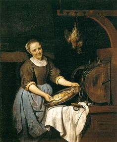 Artiste: Gabriel Metsu (1629–1667),   English: The Cook, Français : La Cuisinière, Date: 1657-1667