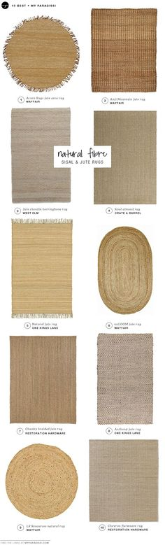 DECOR TREND: Sisal and jute rugs shopping picks. We like number 5 and dislike number 6 Jute Carpet, Rugs On Carpet, Diy Kitchen Flooring, Lohals, Rustic Area Rugs, Farmhouse Rugs, Farmhouse Ideas, Funky Home Decor, Natural Fiber Rugs