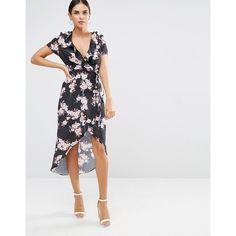Oh My Love Frill Wrap High Low Hem Dress ($42) ❤ liked on Polyvore featuring dresses, multi, hi low dress, mullet dress, v neck wrap dress, flounce dress and short front long back dress