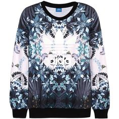 Adidas Originals Florera printed jersey sweatshirt ($75) ❤ liked on Polyvore featuring tops, hoodies, sweatshirts, sweaters, shirts, adidas, purple, jersey shirt, floral shirts and graphic design shirts