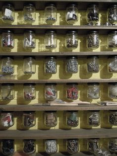 This is why I've been hoarding all my used jam jars. Screw the lid to the underside of a shelf and hey presto! Classic viewable workshop storage!