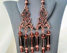 Handcrafted Smoky Quartz and Swarovski Crystal Chandelier Earrings