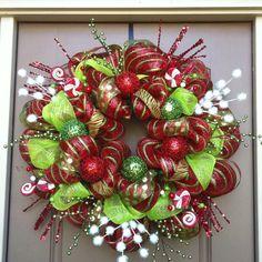 Christmas deco mesh wreath by Brittani Kelley.