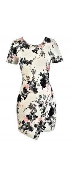 Pink and Charcoal Grey Floral Print Crossover Hemline Dress  www.lilyboutique.com