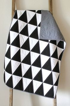 B + W isosceles triangles - simple black and white quilt