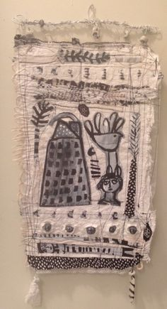 Handmade paper with lace and ink drawings